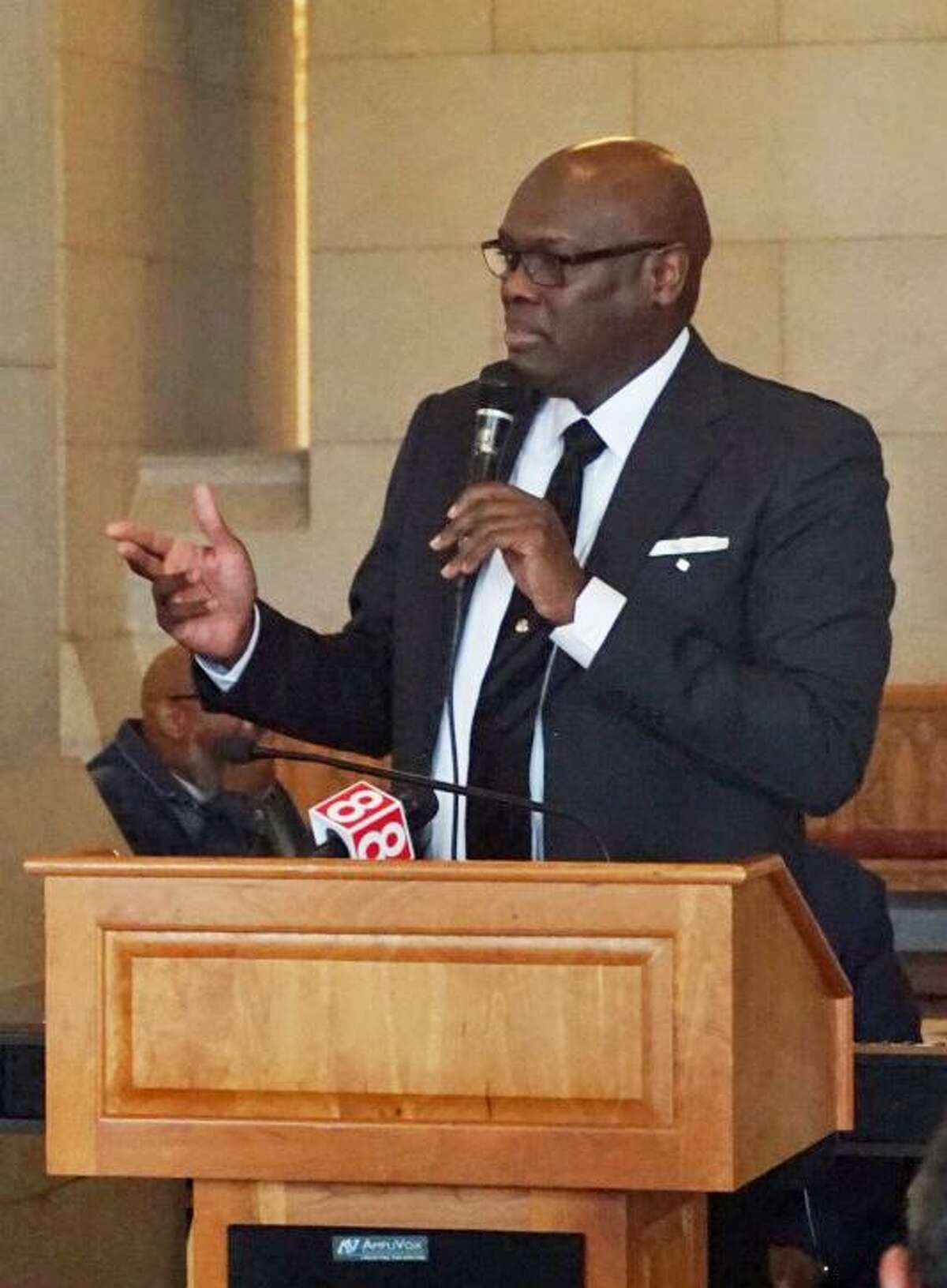 State Rep. Charlie Stallworth, D-Bridgeport, spoke at a gathering of clergymen and legislators at the Capitol in Hartford, Conn. to remember the 50th anniversary of the assassination of Martin Luther King, Jr. on Tuesday April 3, 2018.
