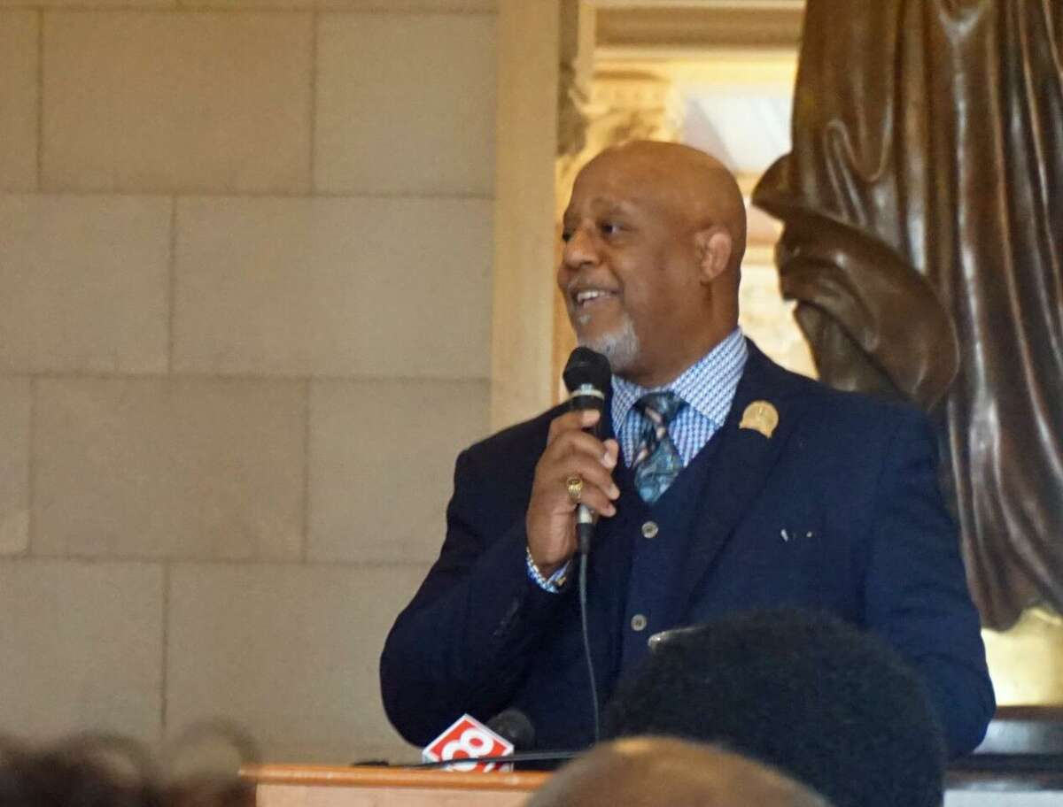 Reverend Lindsay Curtis, president of the Connecticut State Baptist Convention, spoke at the Capitol in Hartford, Conn. to remember the 50th anniversary of the assassination of Martin Luther King, Jr. on Tuesday April 3, 2018.