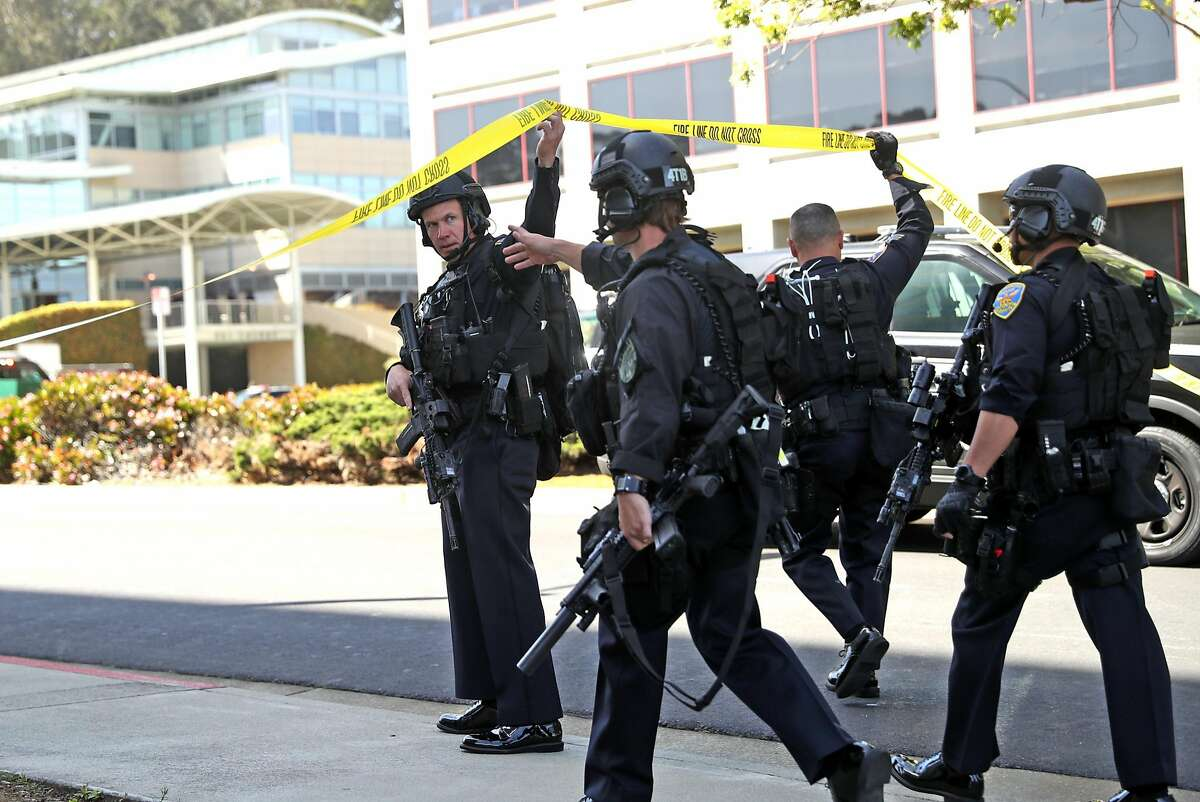 San Francisco Police respond to active shooter situation at YouTube facility in San Bruno, Calif., on Tuesday, April 3, 2018.