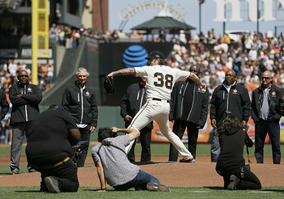 a2ed71b63ab Former San Francisco Giants pitcher Brian Wilson throws a ceremonial first  pitch before the start of