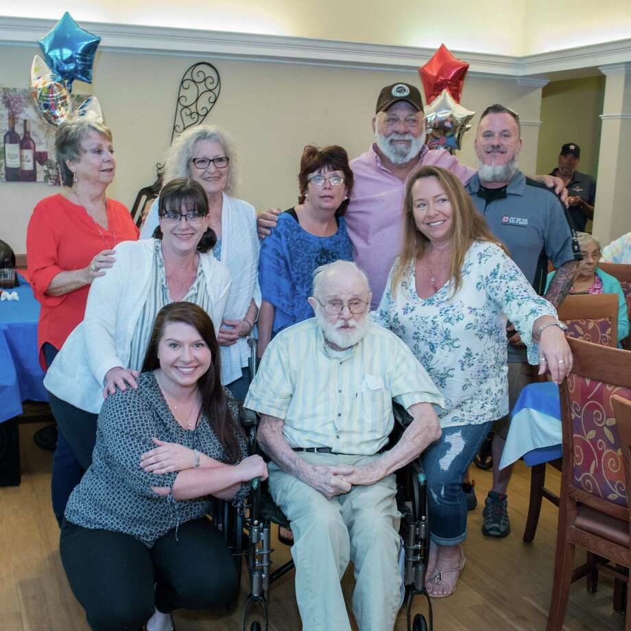 """The Tuttle family with Elmer """"Pop"""" Tuttle who turned 101 on Friday. They celebrated with a party at Strake Place in Conroe."""