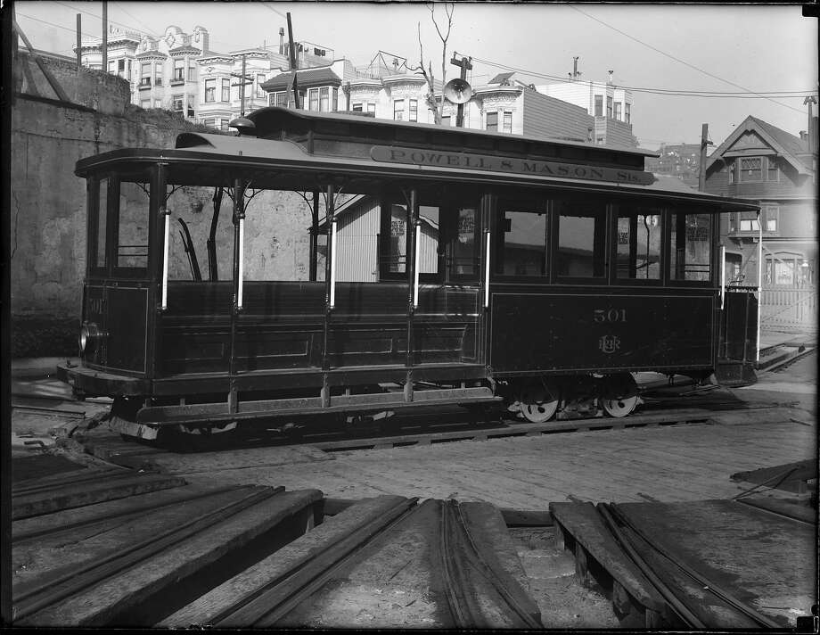 Powell Street Cable Car 501, formerly No. 28, is seen at the Washington and Mason Car House in 1918. The car will go on display at a Connecticut museum. Photo: John Henry Mentz / SFMTA Photo Archive 1918