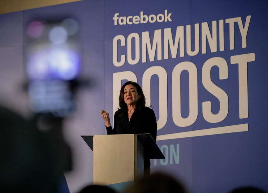 Sheryl Sandberg, chief operating officer of Facebook, speaks about the impact of small business during an event at the Julia Ideson Building Tuesday, April 3, 2018, in Houston.  ( Jon Shapley / Houston Chronicle ) Photo: Houston Chronicle / © 2018 Houston Chronicle