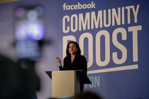 Sheryl Sandberg, chief operating officer of Facebook, speaks about the impact of small business during an event at the Julia Ideson Building Tuesday, April 3, 2018, in Houston.  ( Jon Shapley / Houston Chronicle )