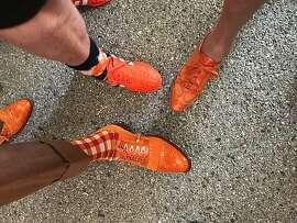 Opening day footwear on Willie Brown, Debi Durst, Charlotte Shultz