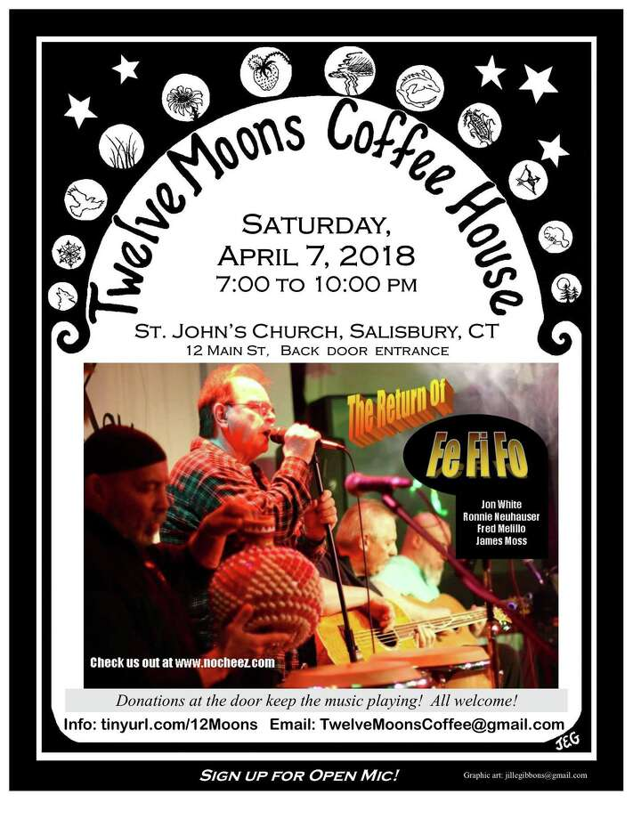 Twelve Moons Coffee House welcomes Fe Fi Fo, with Jon Papa White, Ronnie Neuhauser, Fred Melillo and James Moss, on Saturday, April 7. Photo: Contributed Photo /12 Moons