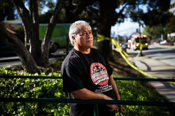 Jesse Pineda stands for a portrait on Cherry Avenue hours after a shooter injured several people at YouTube headquarters in San Bruno, California, on Tuesday, April 3, 2018. Jesse was about to buy a hamburger at Carl's Jr. when he witnessed the attack and helped a woman who was shot in the leg.