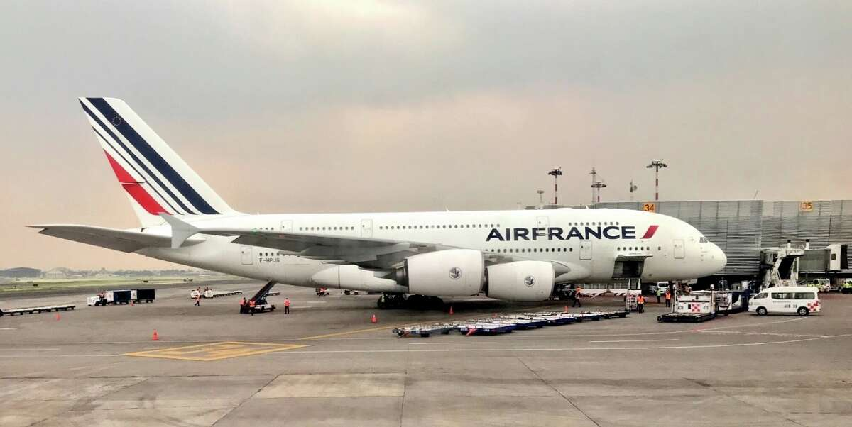 A big Air France A380 lumbers in at at Mexico City airport