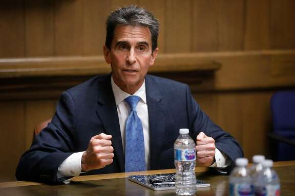Senator Mark Leno, former California State senator and candidate for mayor of San Francisco, addresses the San Francisco Chronicle Editorial Board on Tuesday, April 3, 2018 in San Francisco, Calif.