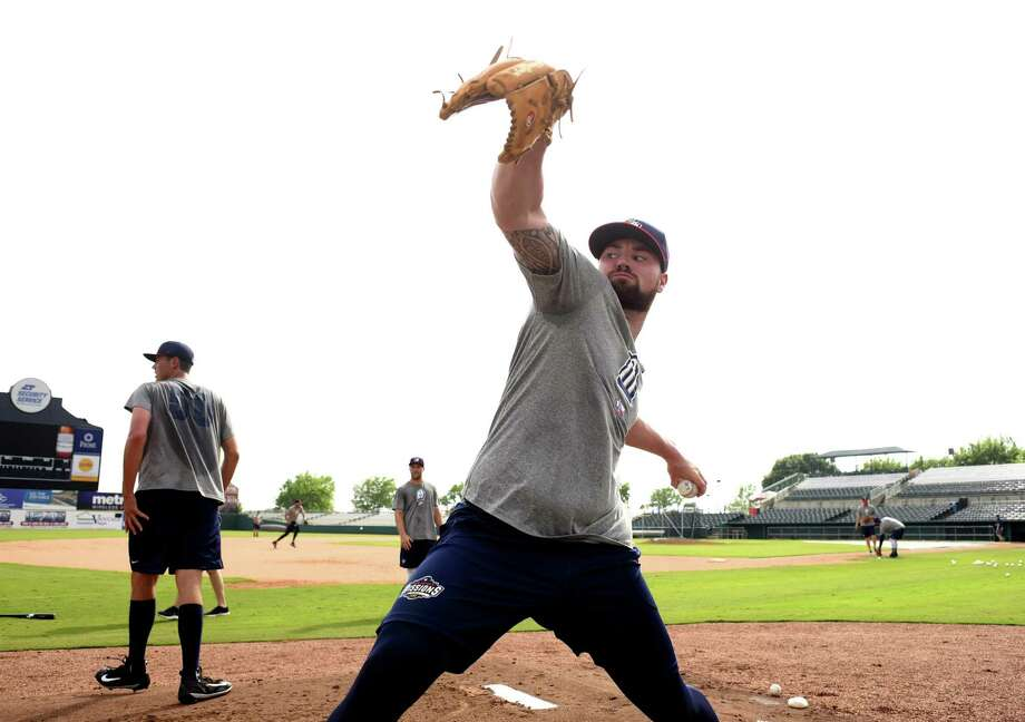 San Antonio Missions pitcher Logan Allen throws in the bullpen during Media Day for the San Antonio Missions baseball team at Nelson Wolff Stadium on Tuesday, April 3, 2018. Photo: Billy Calzada, Staff / San Antonio Express-News / San Antonio Express-News