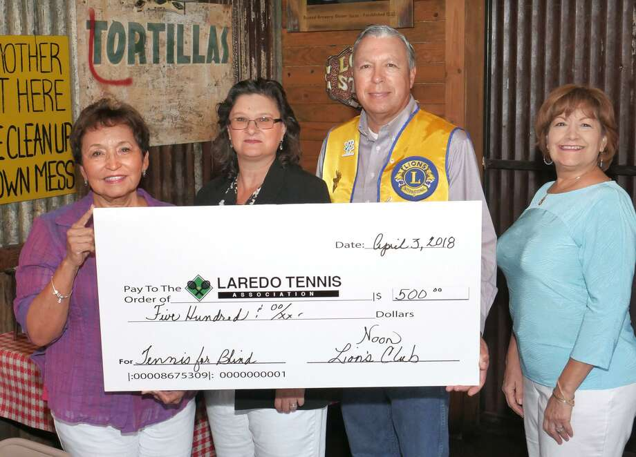 Laredo Noon Host Lions Club member Ed Medina made a matching $500 donation to the Tennis for the blind program of the Laredo Tennis Association on Tuesday at Rudy's Country Store and Bar-B-Q. Pictured with Medina are, from left, Tina Treviño, Angie Martinez-Sanchez and Laura S. Gonzalez. Photo: Cuate Santos /Laredo Morning Times / Laredo Morning Times