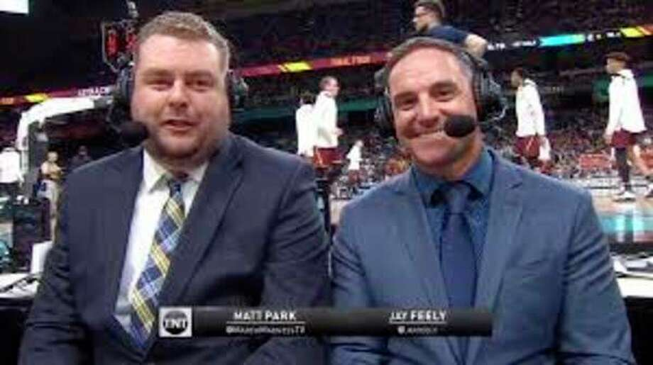 Former Great Lakes Loons' radio announcer Matt Park (left) and former University of Michigan kicker Jay Feely appear in a screenshot during TNT's Michigan 'TeamCast' of the Wolverines' national semifinal vs. Loyola Chicago last Saturday in San Antonio.