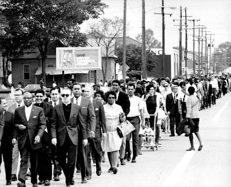 Houston marchers in the days following the assassination of Martin Luther King. Photo printed in the Houston Post, April 7, 1968. Photo by Jerry Click. Photo: Jerry Click / Houston Chronicle / Houston Post files