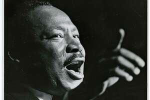 The Rev. Martin Luther King Jr. speaks at the Sam Houston Coliseum on Oct 17, 1967. Blair Pittman / Houston Chronicle