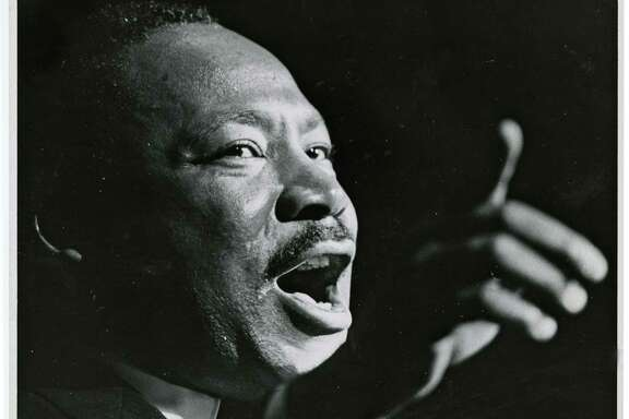 Martin Luther King Jr. at the Sam Houston Coliseum on Oct. 17, 1967.