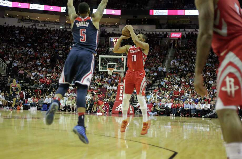 Houston Rockets guard Eric Gordon (10) puts up a three-point shot in the first half against the Washington Wizards at the Toyota Center on Tuesday, April 3, 2018, in Houston. Photo: Elizabeth Conley, Houston Chronicle / © 2018 Houston Chronicle