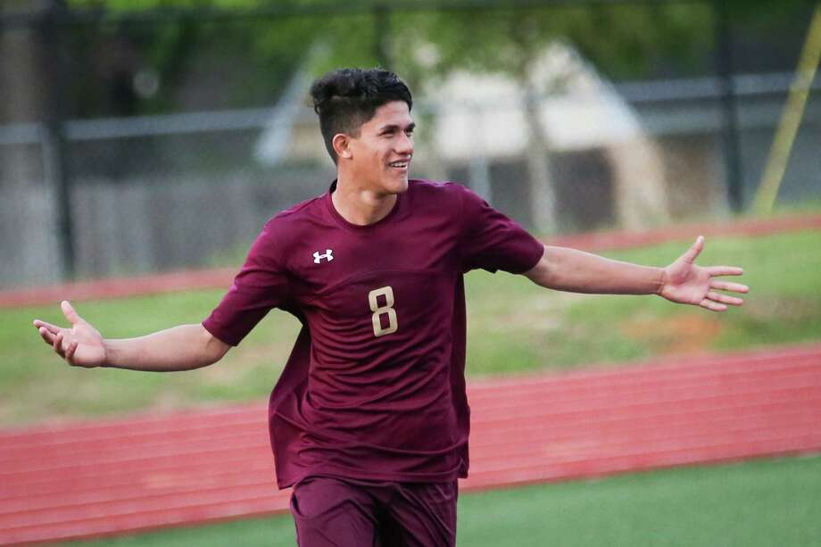 Magnolia West's Jeremias Gonzalez (8) reacts after scoring a goal during the boys soccer game against Nacogdoches on Tuesday, April 3, 2018, at Yates Stadium in Willis. (Michael Minasi / Houston Chronicle) Photo: Michael Minasi, Staff Photographer / © 2018 Houston Chronicle