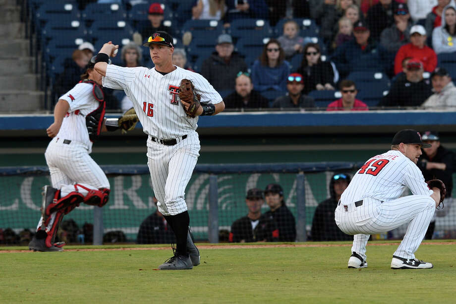 Texas Tech's Josh Jung (16) throws to first for an out against New Mexico State April 3, 2018, at Security Bank Ballpark.  James Durbin/Reporter-Telegram Photo: James Durbin