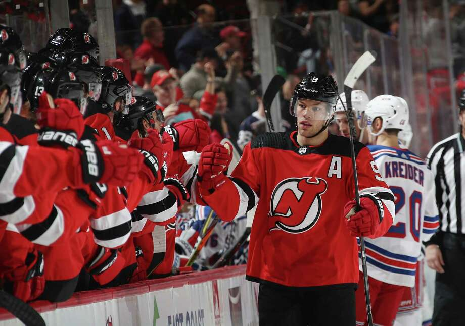 NEWARK, NJ - APRIL 03: Taylor Hall #9 of the New Jersey Devils celebrates his powerplay goal at 3:41 of the first period against the New York Rangers at the Prudential Center on April 3, 2018 in Newark, New Jersey.  (Photo by Bruce Bennett/Getty Images) Photo: Bruce Bennett / 2018 Getty Images