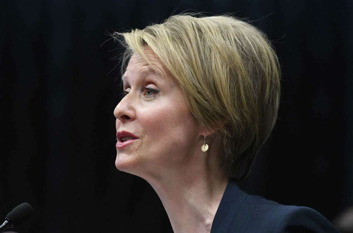 Democratic candidate for New York governor Cynthia Nixon speaks during an Alliance for Quality Education press conference on Monday, March 26, 2018, at the Hilton in Albany, N.Y. The