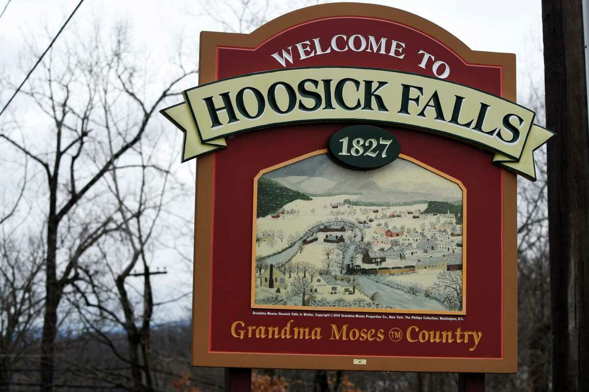 Sign at the entrance to Hoosick Falls on Route 22 on Wednesday, Jan. 4, 2017, in Hoosick Falls, N.Y. (Will Waldron/Times Union)