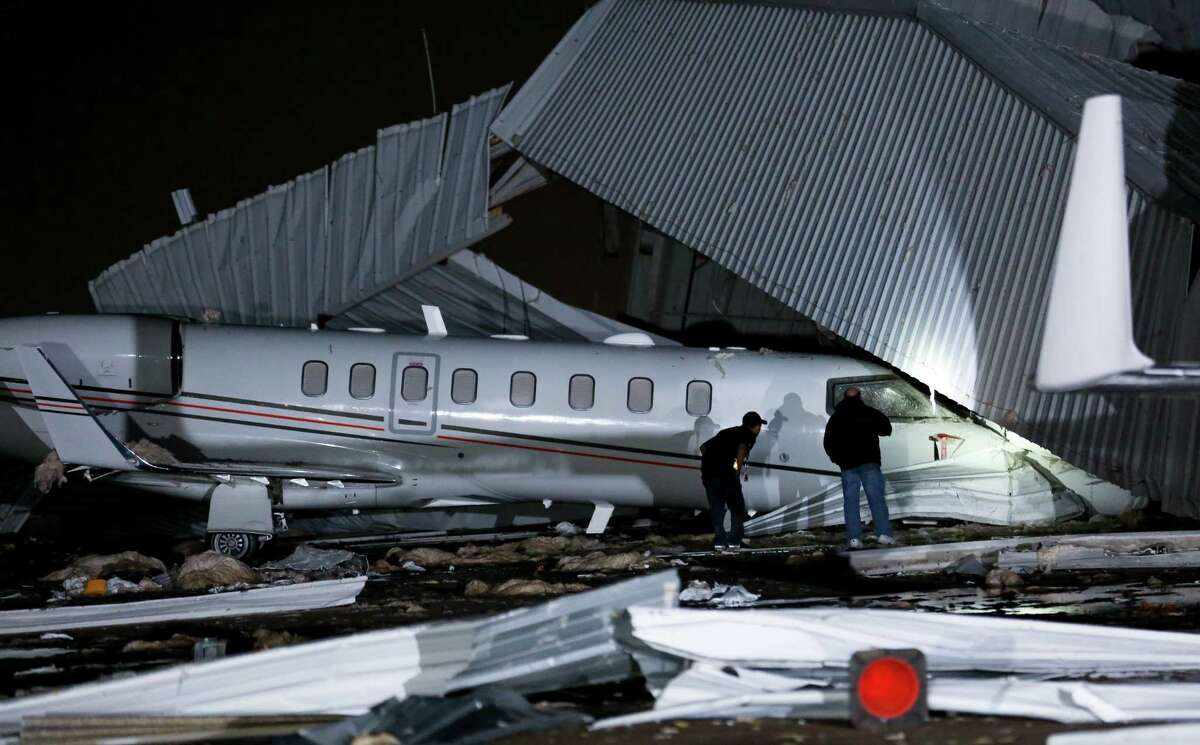 """Location: East Haven County: Harris Date: 04/03/2018 Weather Type: Thunderstorm Wind Property Damage Amount: $2 million """"There was significant damage to a hanger and surrounding aircraft at Houston Hobby Airport due to a microburst. Four aircraft inside the hanger and four aircraft outside of the hanger sustained damage. Hangar destroyed. Debris deposited toward the south and southeast."""" (ncdc.noaa.gov)"""