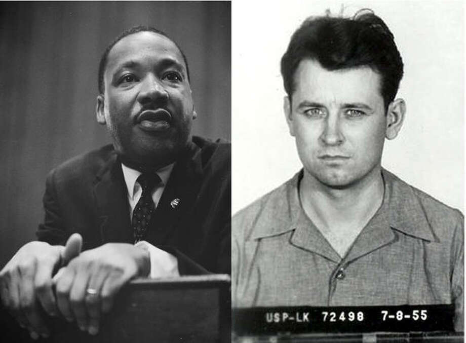 Civil right leader Martin Luther King Jr., left, and James Earl Ray, the Alton native who allegedly assassinated King 50 years ago.