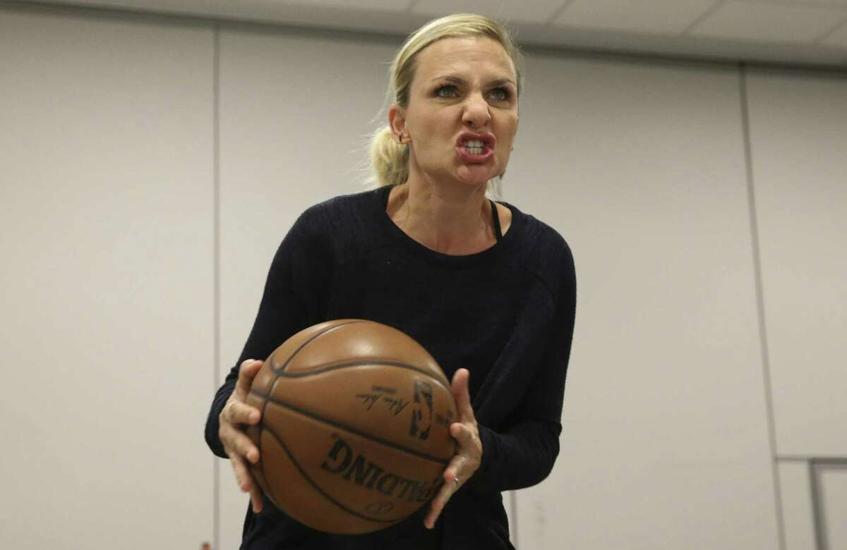 """The """"Small Ball"""" cast Julia Krohn, who plays Lily, performs during a rehearsal with the band at Midtown Arts and Theater Center Houston on Thursday, March 22, 2018, in Houston. The new musical is commissioned by Houston Rockets General Manager Daryl Morey."""
