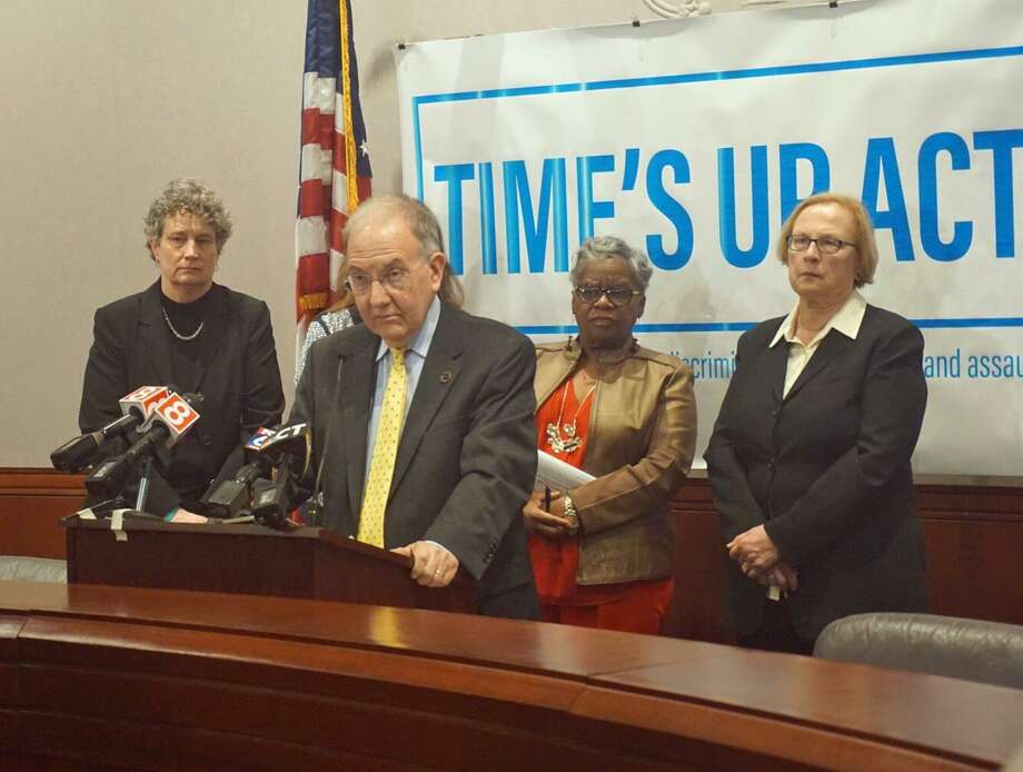 Senate President Pro Tempore Martin Looney, D-New Haven, (center) lead the charge advocating for the passage of the Time's Up Act, reforming Connecticut's sexual harassment laws, in February. He was joined by (L to R) Sen. Beth Bye, D-West Hartford, Sen.Marilyn Moore, D-Bridgeport, and Sen. Terry Gerratana, D-New Britain. Photo: Emilie Munson