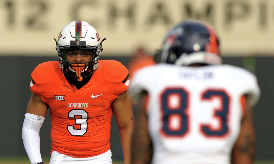 Oklahoma State corner back Chris Hardeman (3) is pictured during an NCAA college football game between UTSA and Oklahoma St in Stillwater, Okla., Saturday, Sept. 19, 2015.(AP Photo/Brody Schmidt) Photo: Brody Schmidt/AP