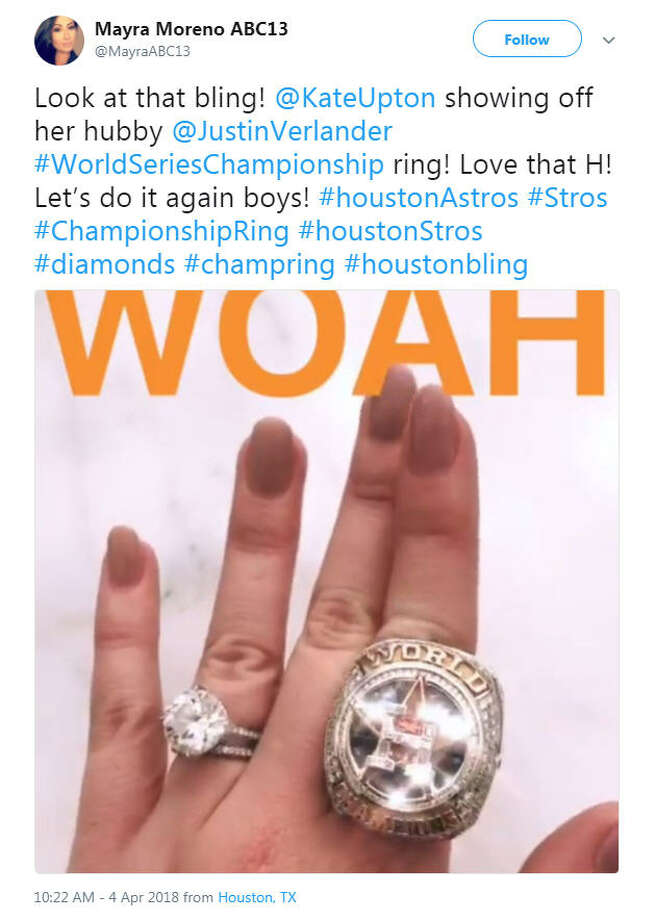 Model Kate Upton shows off her husband Justin Verlander's World Series ring.Image source: TwitterScroll ahead to see how fans celebrated the Astros first home game of 2018.  Photo: Twitter