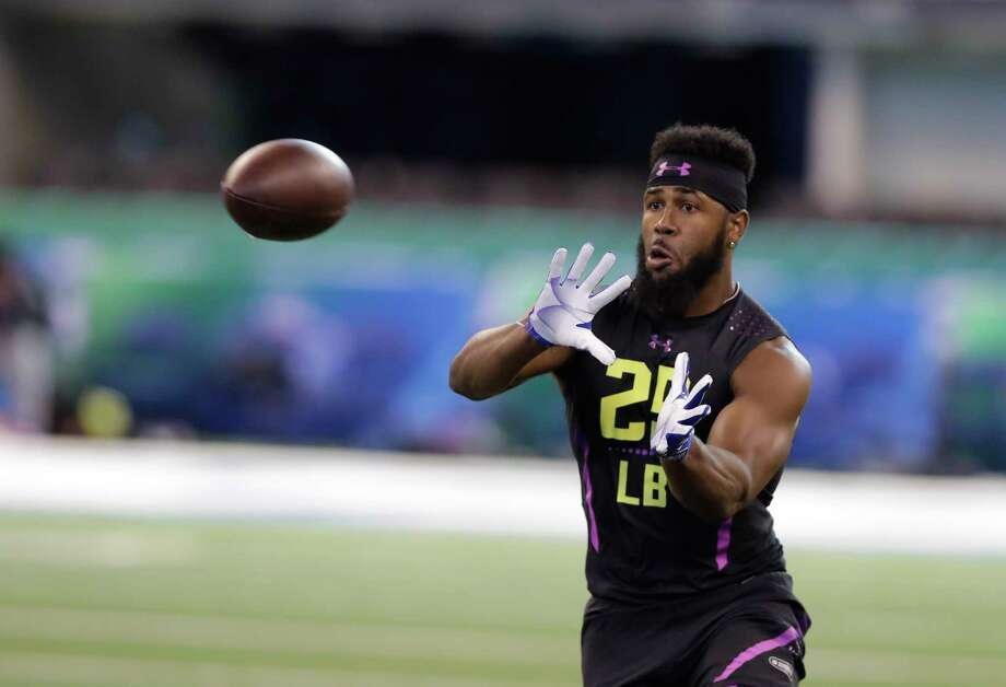 Clemson linebacker Dorian O'Daniel runs a drill during the NFL football scouting combine, Sunday, March 4, 2018, in Indianapolis. (AP Photo/Darron Cummings) Photo: Associated Press / Copyright 2018 The Associated Press. All rights reserved.