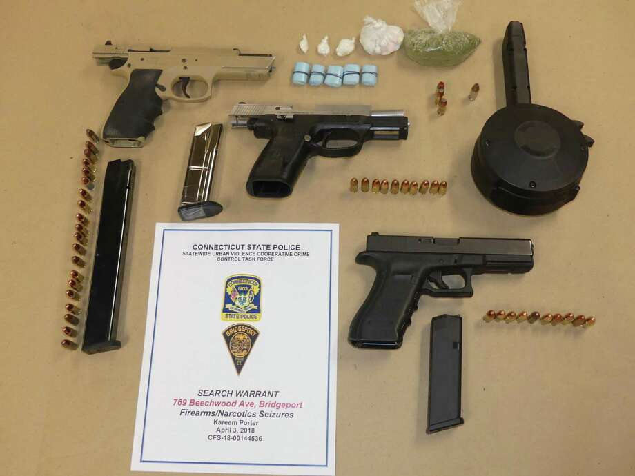 Several firearms, ammunition and drugs were seized from a Beechwood Avenue house on Tuesday, April 3. 2018. At about 2:40 p.m., detectives from the Statewide Urban Violence Cooperative Crime Control Task Force and the Statewide Narcotic Task Force SW Office executed a search warrant at the first-floor apartment at 769 Beechwood Ave. Photo: State Police Photo