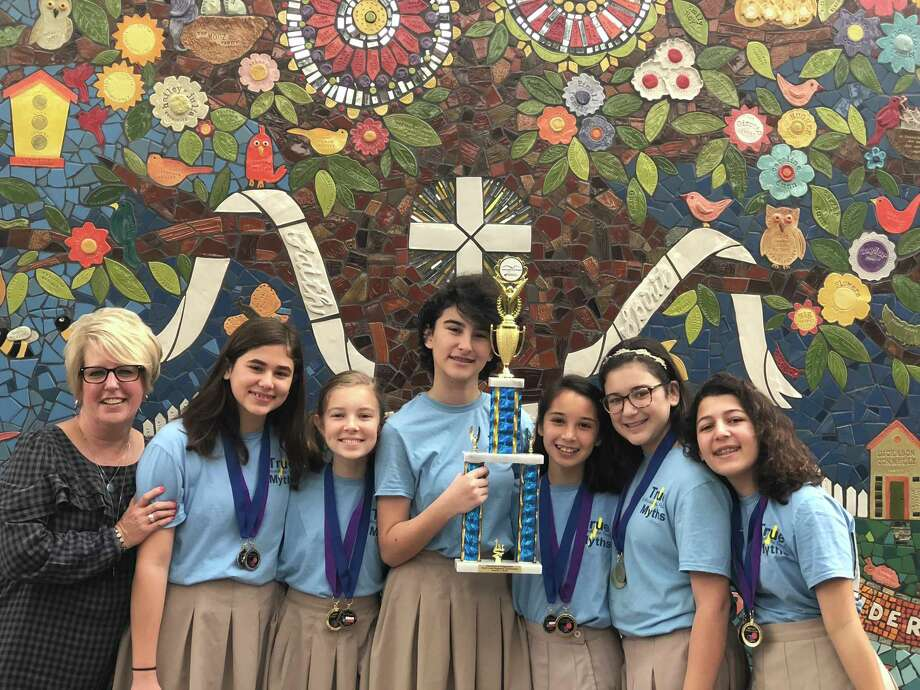 St. Vincent de Paul Catholic School's middle school Destination Imagination team will advance to state finals April 6-7 in Mansfield. The teacher is M. Asselin. Students are K. Vojvodic, L. Shore, S. Iero, P. Tan, E. Joseph and B. Raymond. Photo: St. Vincent De Paul Catholic School