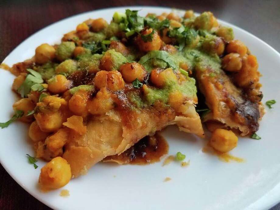 Samosa chaat at Cinnamon Indian Cuisine, located 225 W. Wackerly Street in Midland. (Matthew Woods/ for the Daily News)