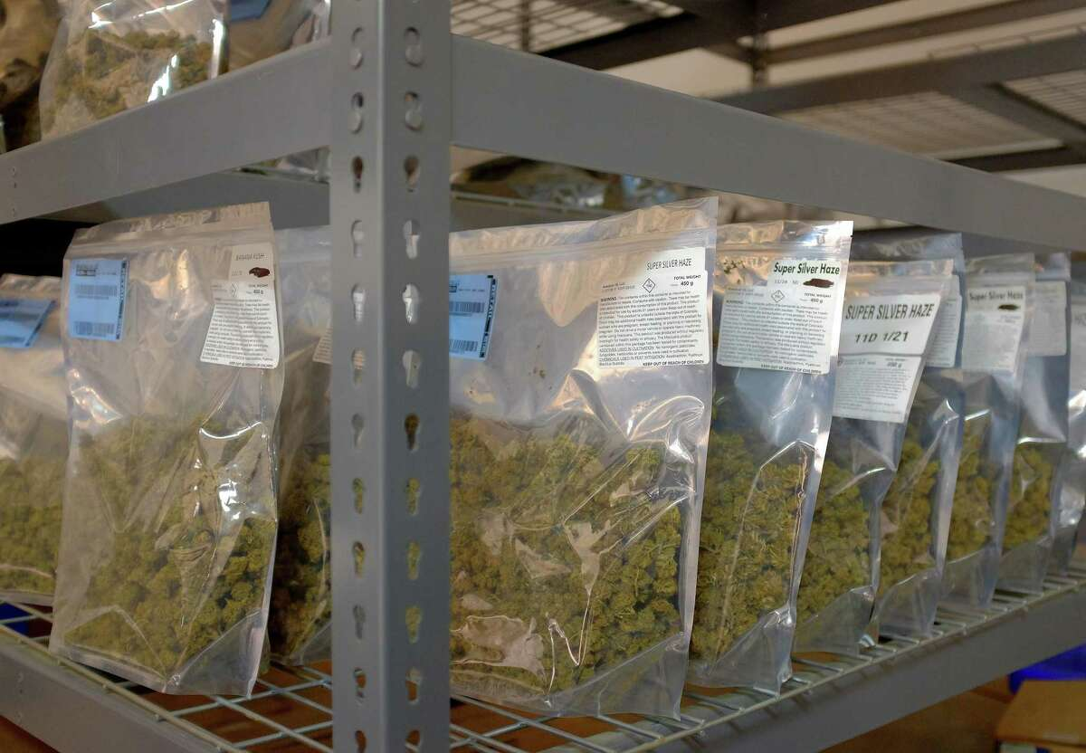 Bags of marijuana sit on shelves in a building at the Los Suenos Farms facility in Avondale, Colorado, on Feb. 25, 2016.