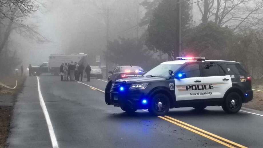 Woodbridge police and Connecticut State Police investigate a homicide Wednesday on Rimmon Road. Photo: Pam McLoughlin / Hearst Connecticut Media