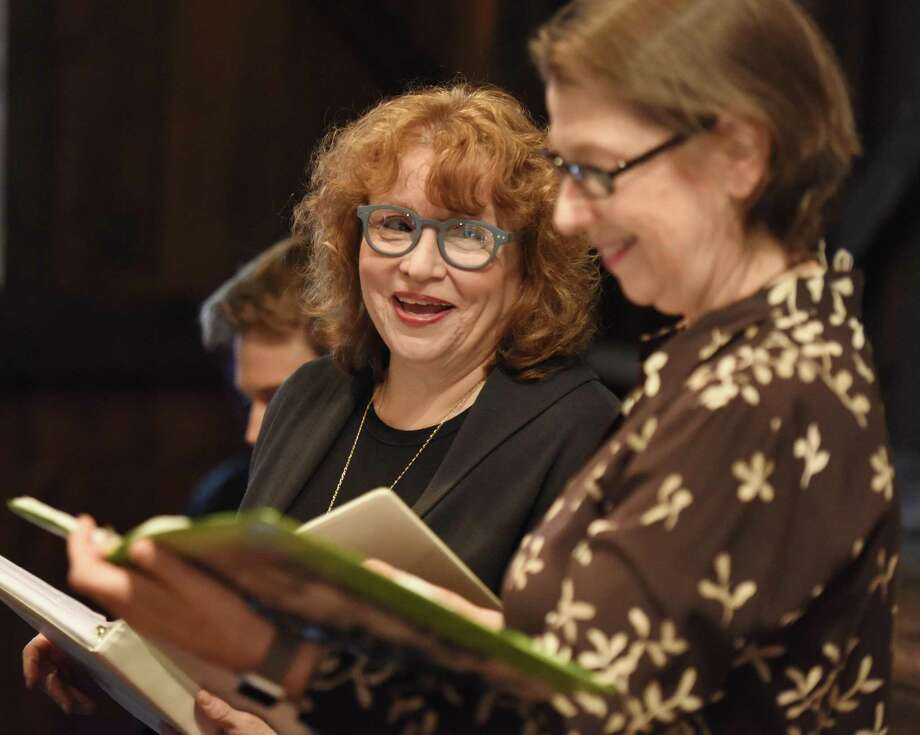 "Eva Okada, left, and Mary Owen perform the ""Dear Mom and Dad"" dramatic reading of letters from a decorated Jewish WWII soldier at the Greenwich Historical Society. Photo: Tyler Sizemore / Hearst Connecticut Media / Greenwich Time"