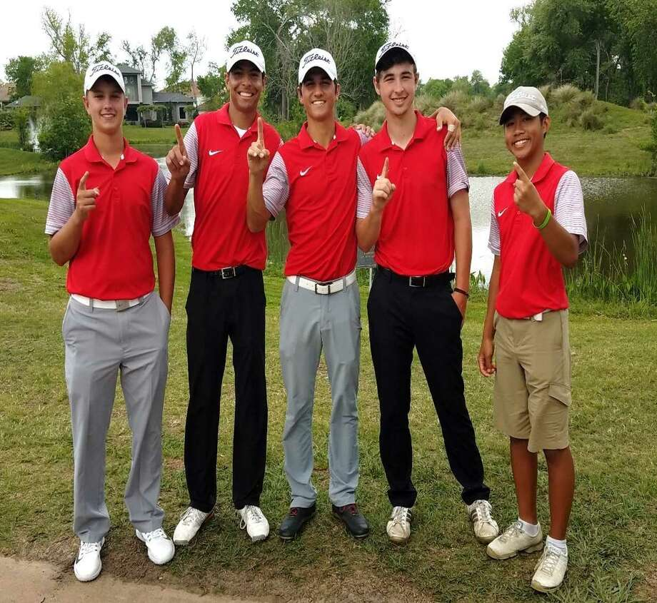 The Dawson boys golf team -- consisting of Tre Allen, Aiden Woodson, Alec Brown, Dylan Fazekas and Jacob Duong -- won the District 23-6A golf title by 17 strokes over Pearland Tuesday at Sienna Plantation. Brown (center) won the individual title with a 5-under-par total. Photo: Submitted Photo
