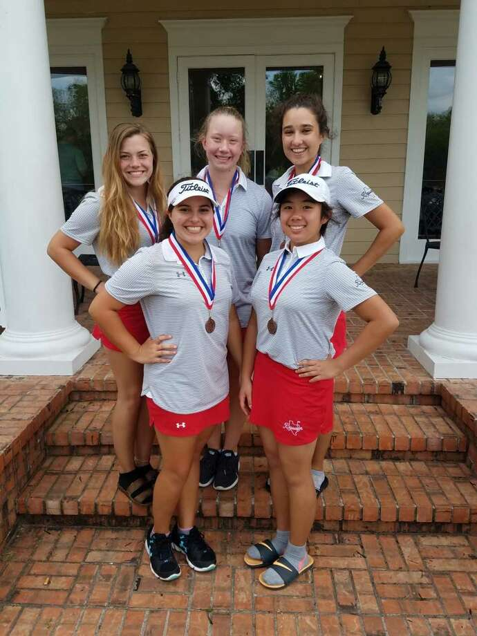 The Dawson girls' golf team finished third at the District 23-6A tournament at Sienna Plantation. Team members include Sophia Aguirre, Bianca Salinas, Alee Matildo, Rachael Farquharson and Kristin Ensmann. Aguirre and Salinas earned berths for the regional tournament. Photo: Submitted Photo