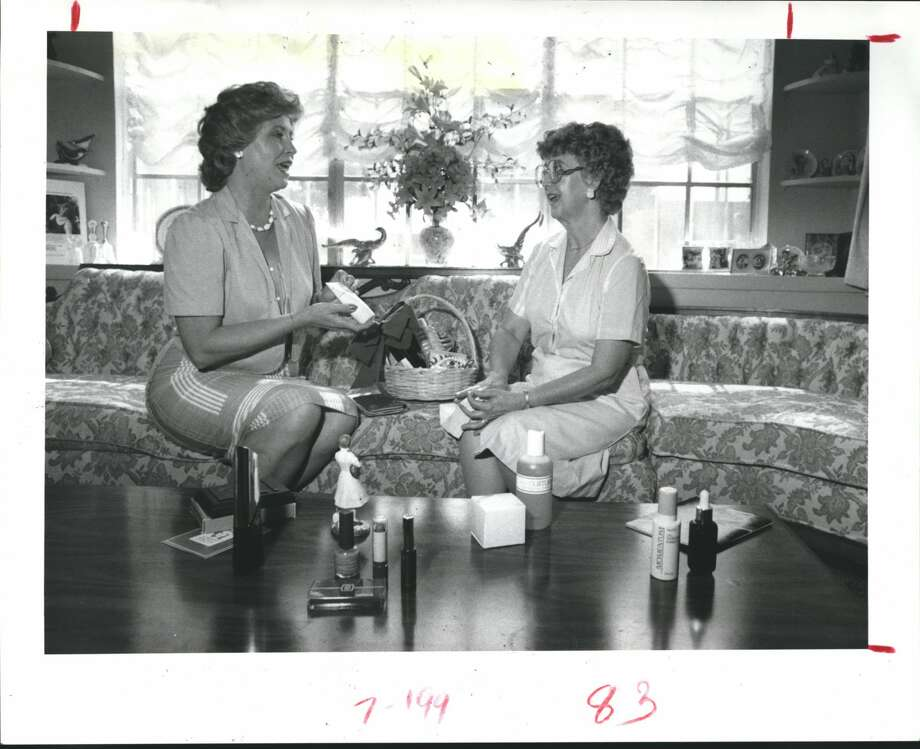 Aug. 14, 1985 - Belle Murry, an Avon cosmetics representative in Fort Bend County, left, works with one of her customers, Elizabeth Franke, teaching her some basics about skin care. Photo: Ted Farkas/Houston Chronicle
