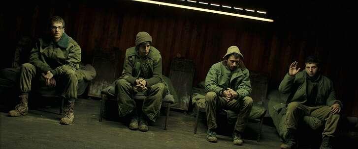 Yonaton Shiray (far right) plays an Israeli soldier in 'Foxtrot.'