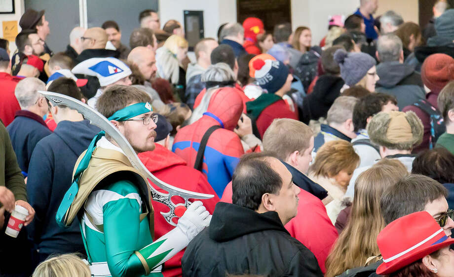Costumed patrons wait to enter a comic and pop-culture convention organized by Altered Reality Entertainment. The Rhode Island company is brining its first convention to the Albany Capital Center this weekend. Up to 10,000 people are expected over three days. (Photo courtesy Altered Reality Entertainment.)