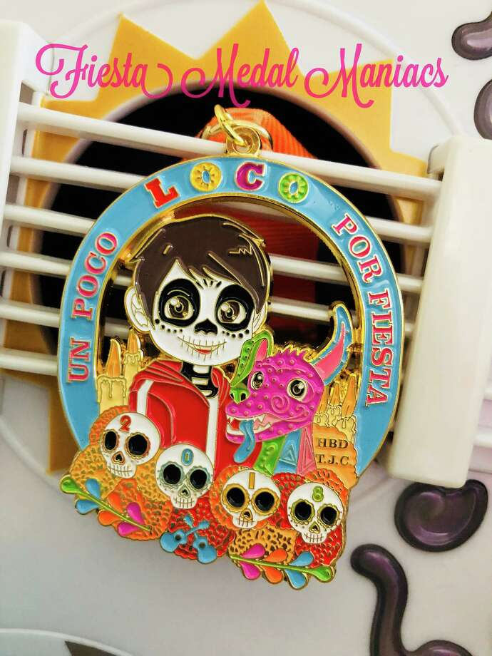 "In a Facebook Live video posted by Fiesta Medal Maniacs, Maggie Ibarra-Jimenez introduced a medal inspired by the beloved Disney film ""Coco."" Photo: Fiesta Medal Maniacs"