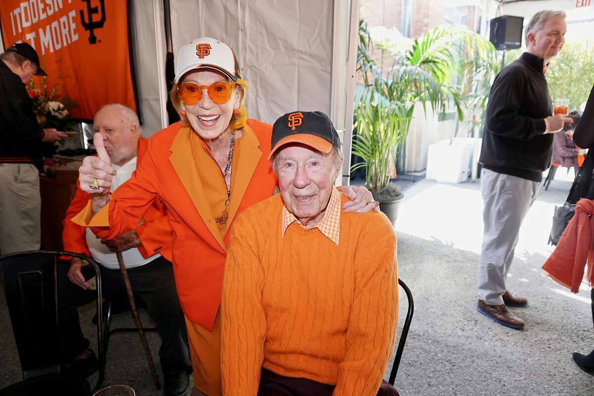 Protocol Chief Charlotte Shultz and her husband, former Sec. of State George Shultz at AT&T park for the Giants home opener. April 3, 2018.