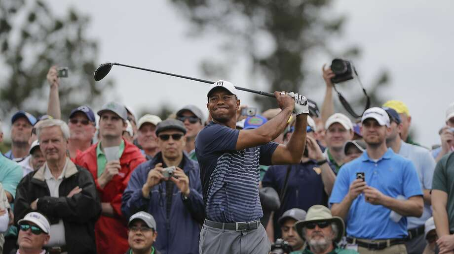 Tiger Woods hits on the eighth tee during a practice round for the Masters golf tournament Wednesday, April 4, 2018, in Augusta, Ga. Photo: David J. Phillip / Associated Press
