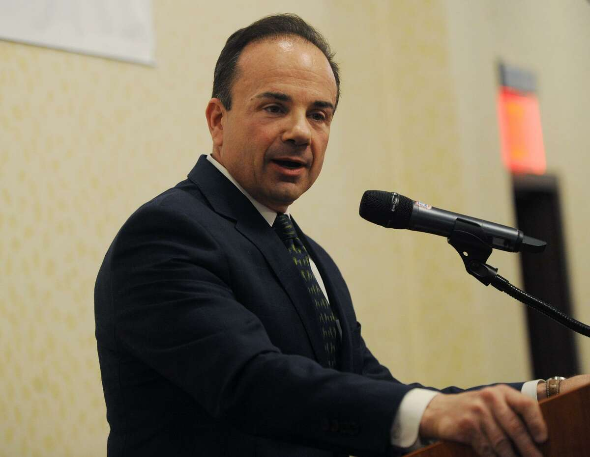 Bridgeport Mayor Joe Ganim delivers the annual State of the City speech to members of the business community at the Holiday Inn in Bridgeport, Conn. on Wednesday, April 4, 2018.