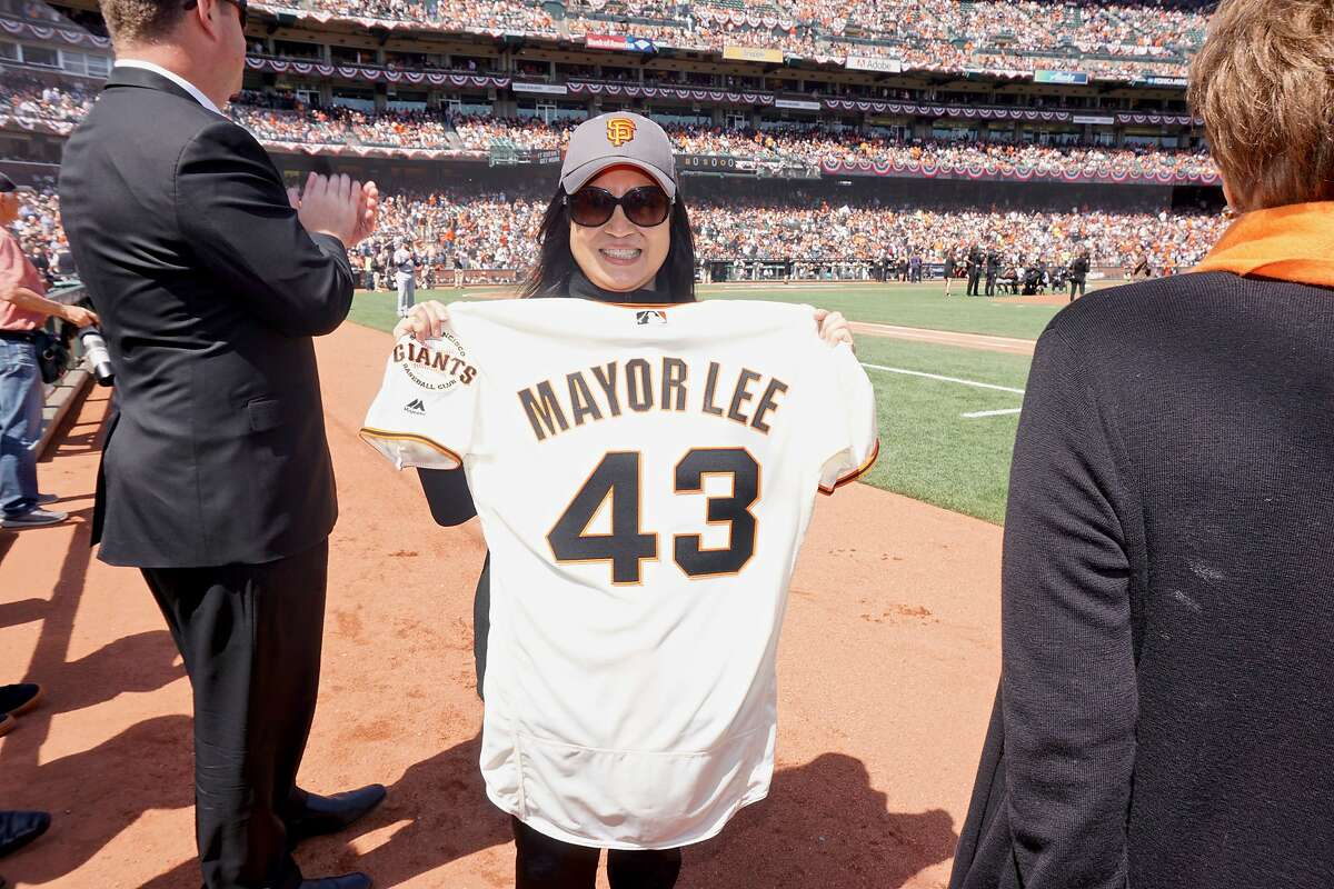 Former First Lady Anita Lee with a Giants team jersey in honor of her late husband, Mayor Ed Lee, at AT&T park for the Giants home opener. April 3, 2018.