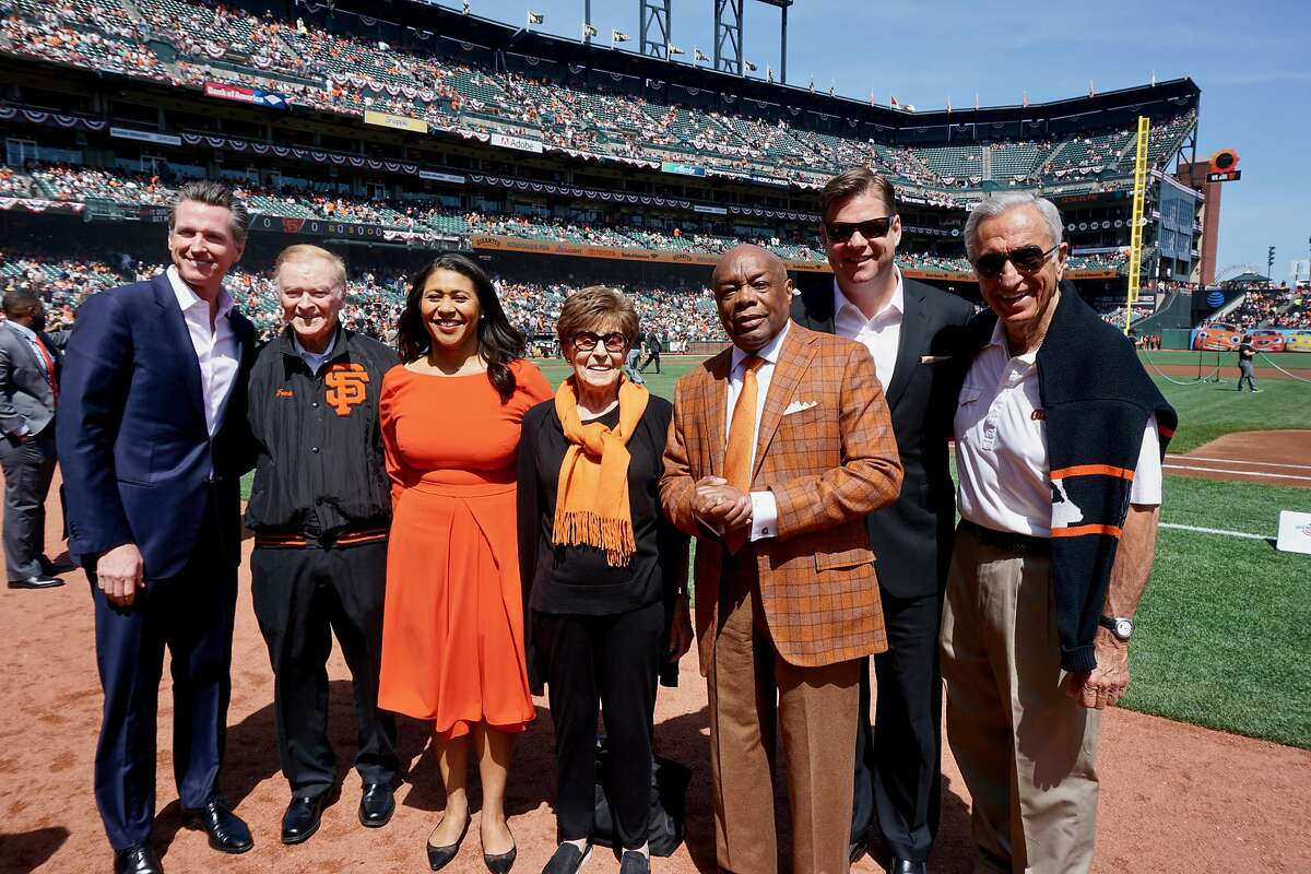 Former San Francisco mayors paid tribute to the late Mayor Ed Lee at the Giants home opener. From left: Lt. Gov. Gavin Newsom, Frank Jordan, Supervisor London Breed, former First Lady Gina Moscone, Willie Brown, Mayor Mark Farrell and Art Agnos. April 3, 2018.