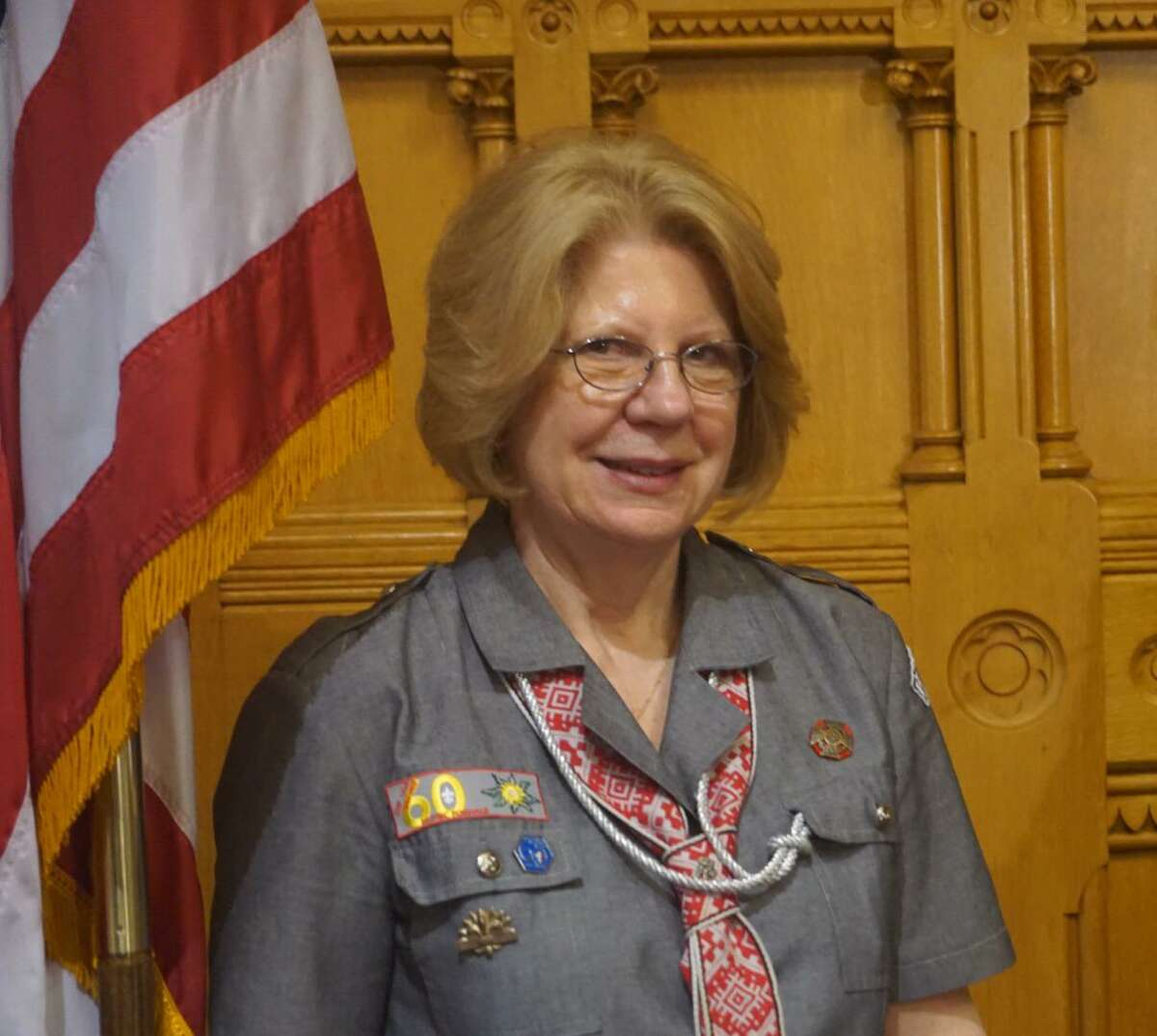 Irena Dzierbinski of Monroe was honored at Connecticut Immigrant Day, Wednesday April 4, 2018, at the Capitol in Hartford, Conn. for her work leading girl scouts in the Polish Scouting Organization in Connecticut.